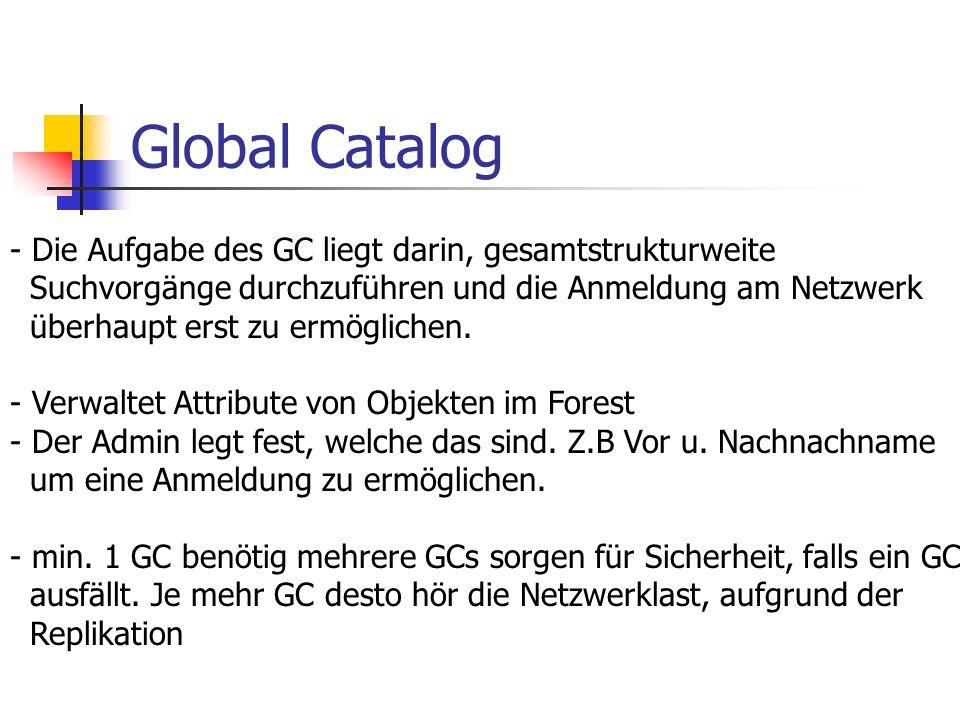 Global Catalog Die Aufgabe des GC liegt darin, gesamtstrukturweite