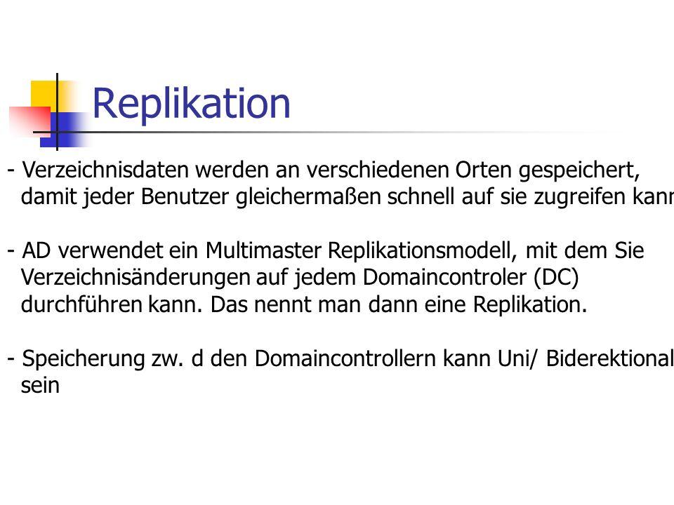 Replikation Verzeichnisdaten werden an verschiedenen Orten gespeichert, damit jeder Benutzer gleichermaßen schnell auf sie zugreifen kann.