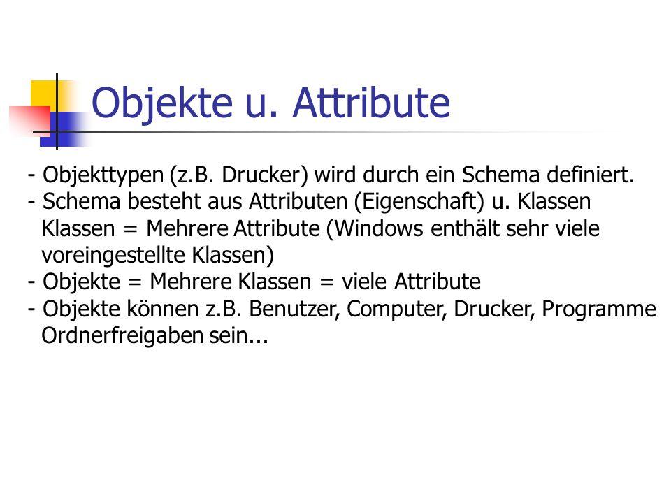 Objekte u. Attribute Objekttypen (z.B. Drucker) wird durch ein Schema definiert. Schema besteht aus Attributen (Eigenschaft) u. Klassen.
