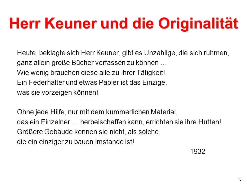 Herr Keuner und die Originalität