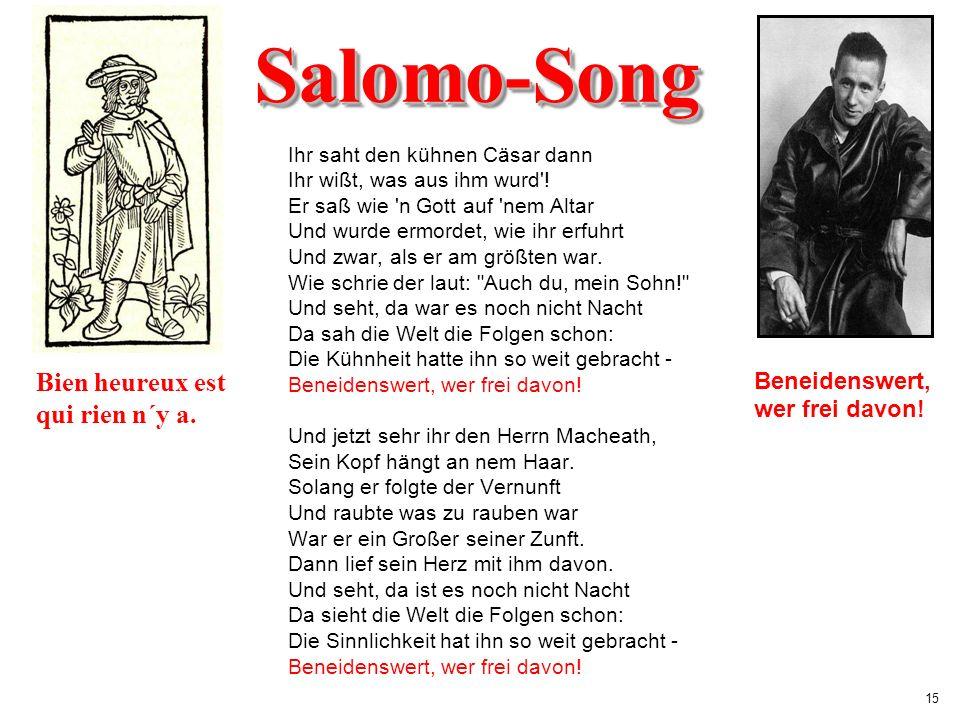 Salomo-Song Bien heureux est qui rien n´y a. Beneidenswert,