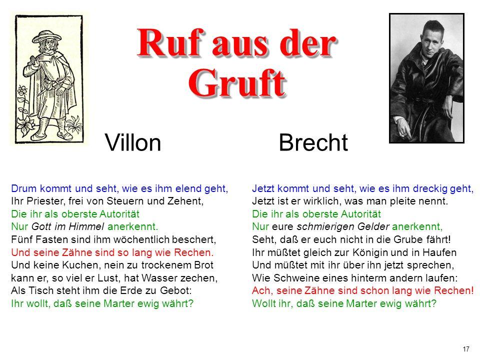 Ruf aus der Gruft Villon Brecht