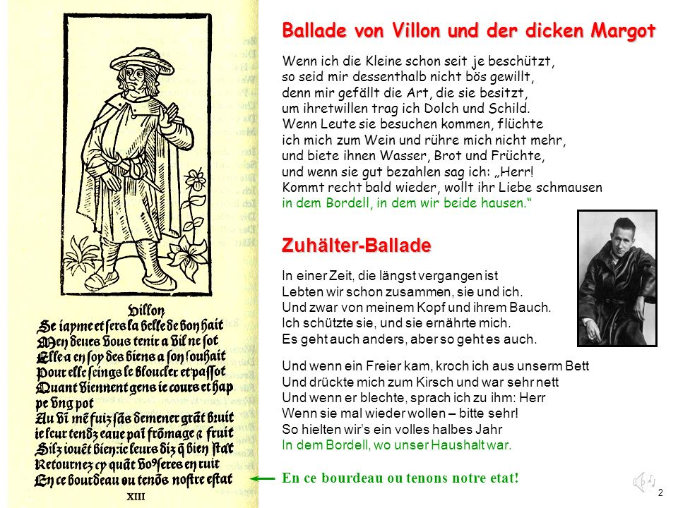 Ballade von Villon und der dicken Margot