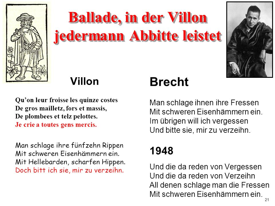 Ballade, in der Villon jedermann Abbitte leistet