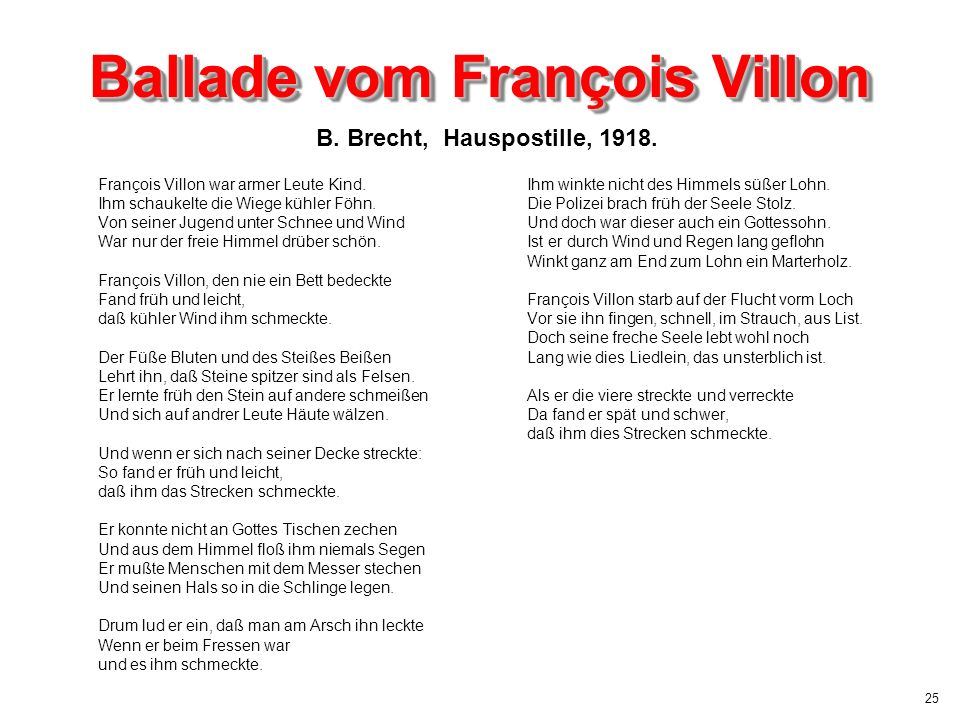 Ballade vom François Villon