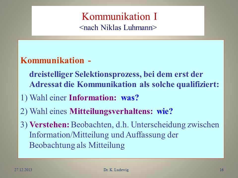 Kommunikation I <nach Niklas Luhmann>