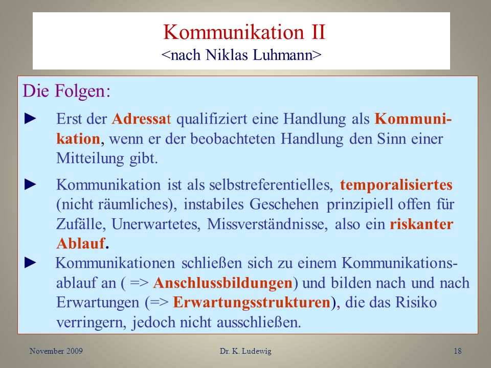 Kommunikation II <nach Niklas Luhmann>