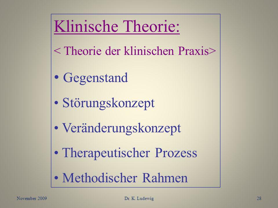 Klinische Theorie: Gegenstand Störungskonzept Veränderungskonzept