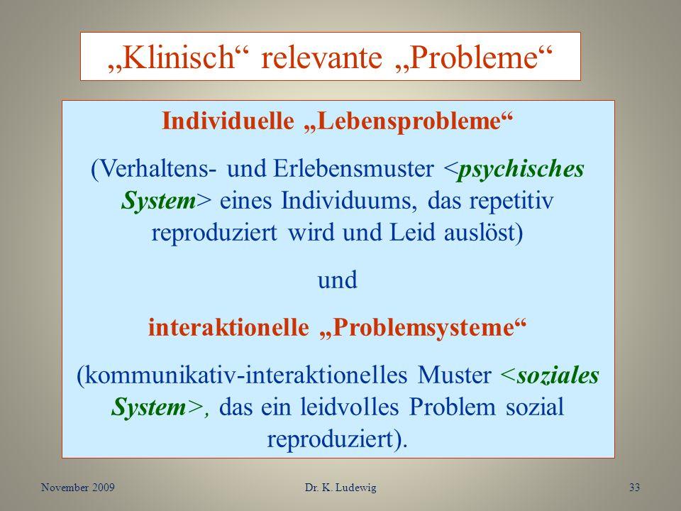 """Individuelle """"Lebensprobleme interaktionelle """"Problemsysteme"""