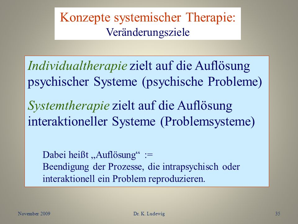 Konzepte systemischer Therapie: Veränderungsziele