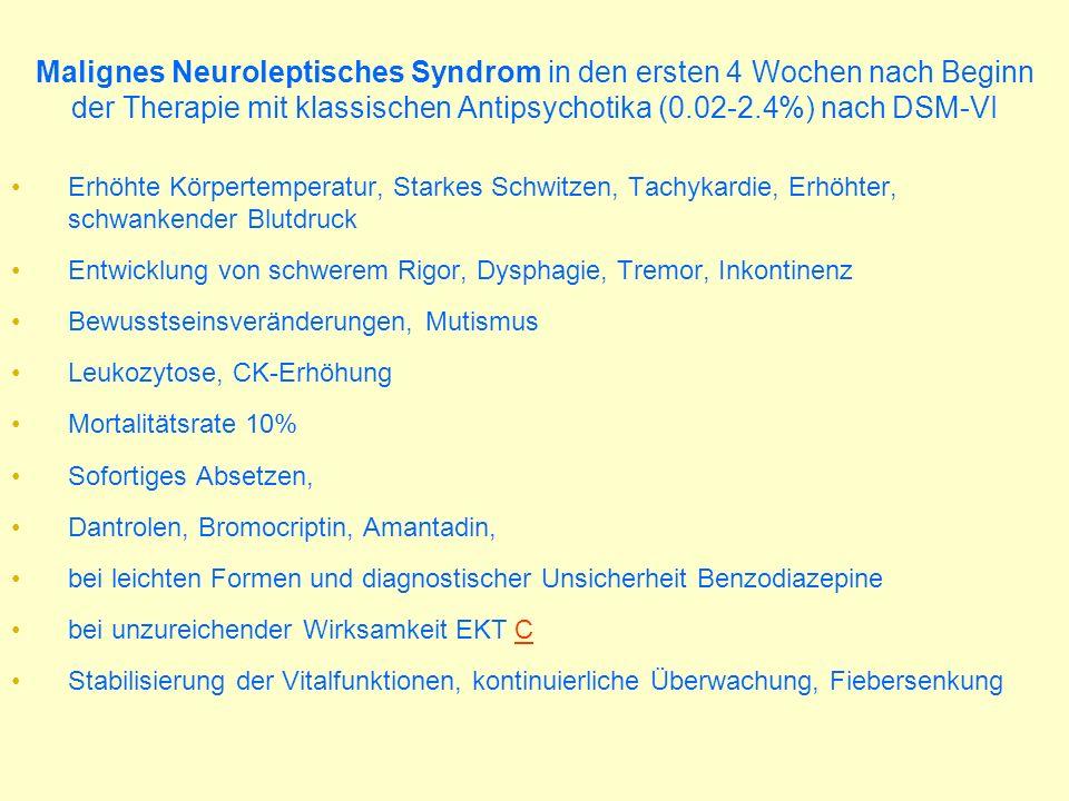 Malignes Neuroleptisches Syndrom in den ersten 4 Wochen nach Beginn der Therapie mit klassischen Antipsychotika (0.02-2.4%) nach DSM-VI