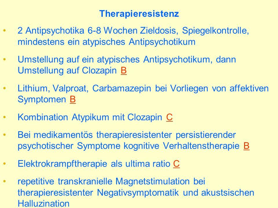 Therapieresistenz 2 Antipsychotika 6-8 Wochen Zieldosis, Spiegelkontrolle, mindestens ein atypisches Antipsychotikum.