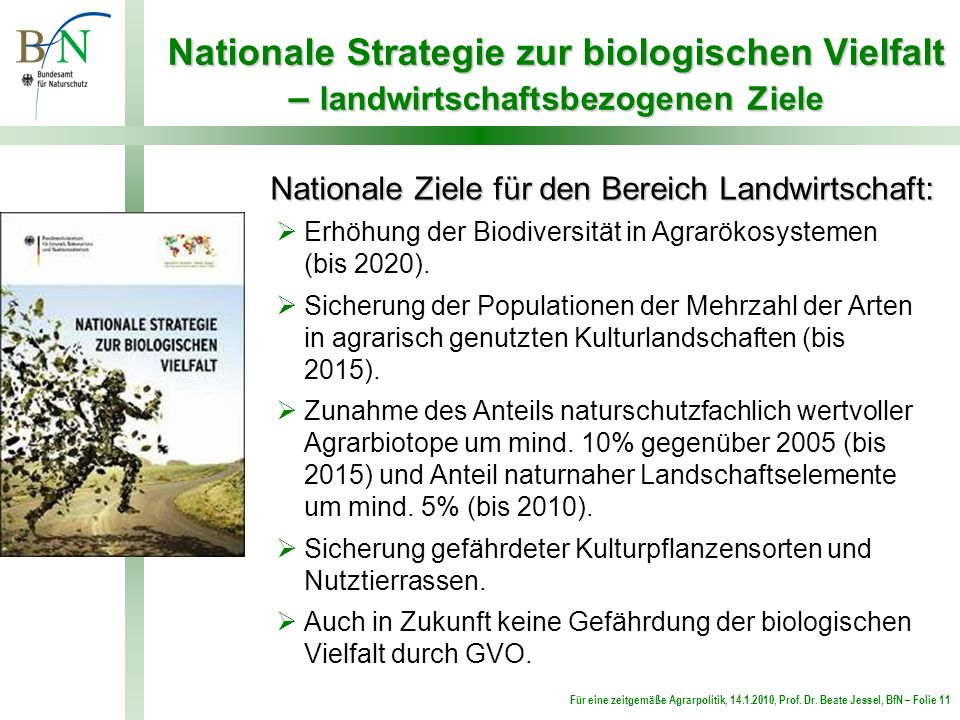 Nationale Strategie zur biologischen Vielfalt – landwirtschaftsbezogenen Ziele