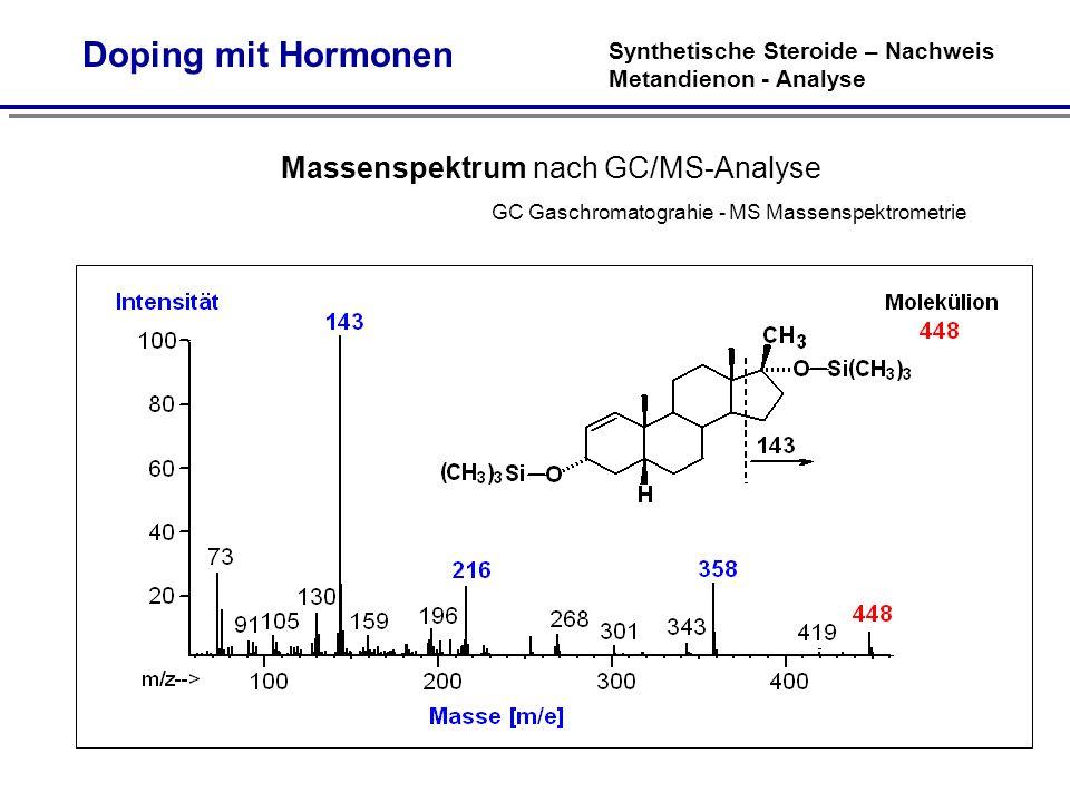 Doping mit Hormonen Synthetische Steroide – Nachweis Metandienon - Analyse.