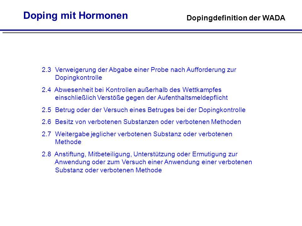 Doping mit Hormonen Dopingdefinition der WADA. 2.3 Verweigerung der Abgabe einer Probe nach Aufforderung zur.