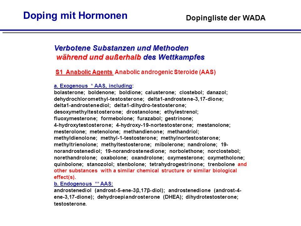 Doping mit Hormonen Dopingliste der WADA