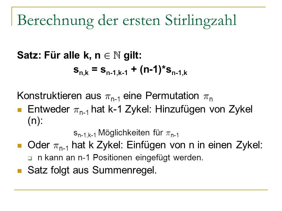 Berechnung der ersten Stirlingzahl
