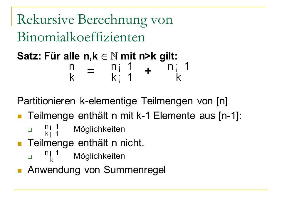 Rekursive Berechnung von Binomialkoeffizienten