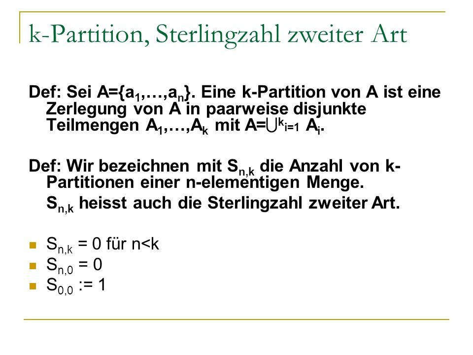 k-Partition, Sterlingzahl zweiter Art