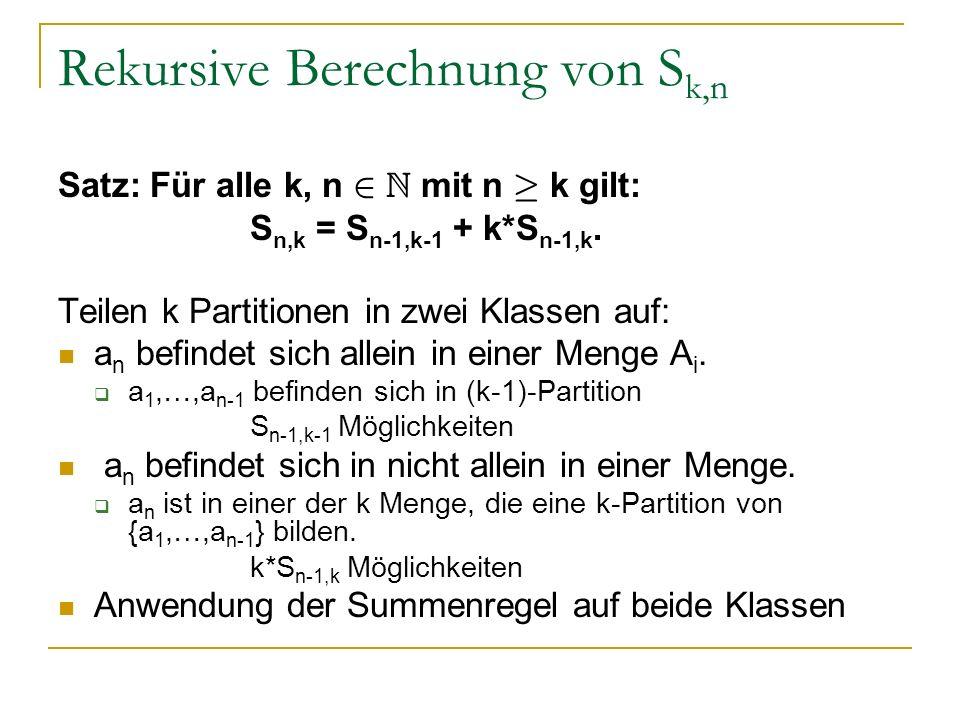 Rekursive Berechnung von Sk,n