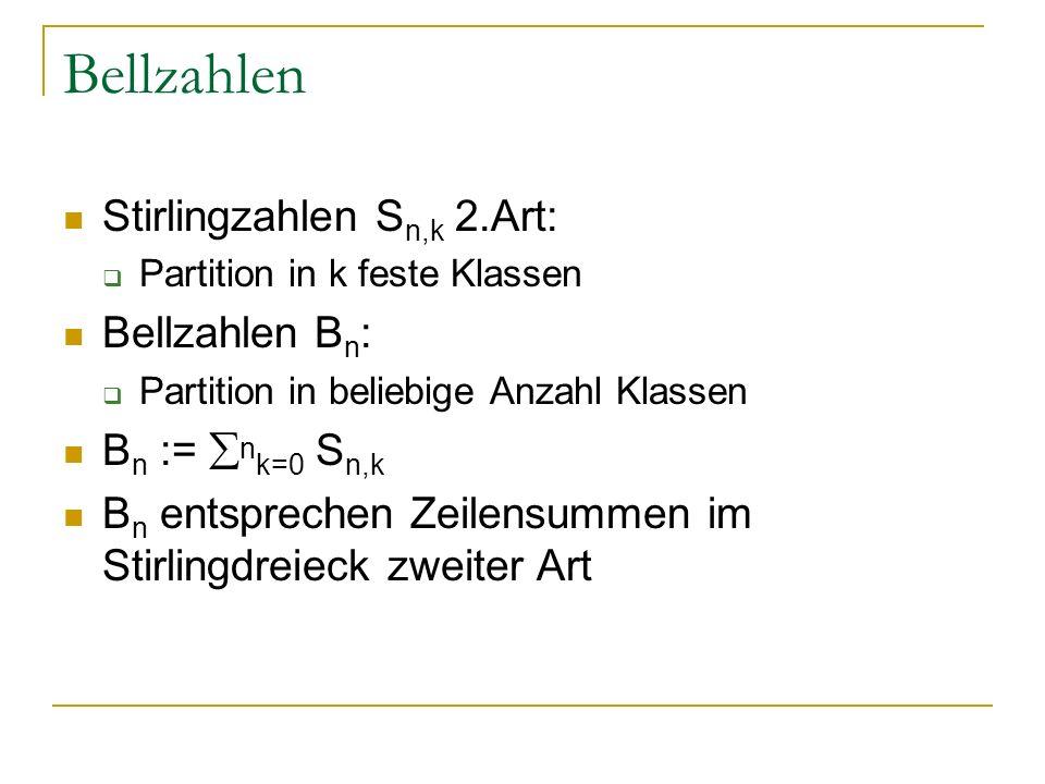 Bellzahlen Stirlingzahlen Sn,k 2.Art: Bellzahlen Bn: Bn := nk=0 Sn,k