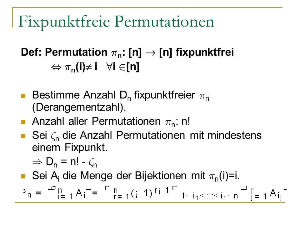 Fixpunktfreie Permutationen