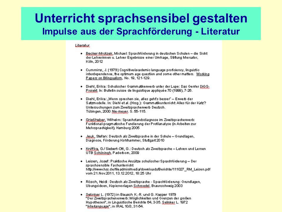 Unterricht sprachsensibel gestalten Impulse aus der Sprachförderung - Literatur