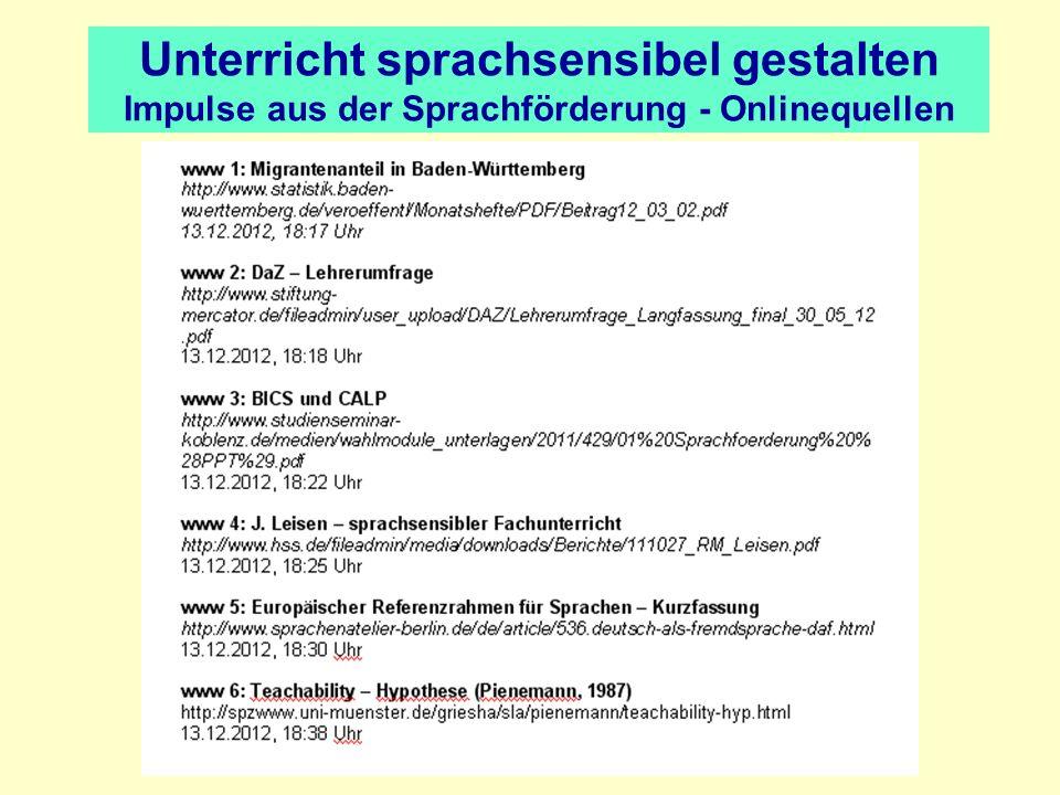 Unterricht sprachsensibel gestalten Impulse aus der Sprachförderung - Onlinequellen