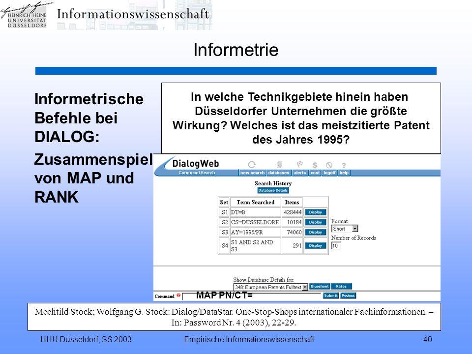 Informetrie Informetrische Befehle bei DIALOG: