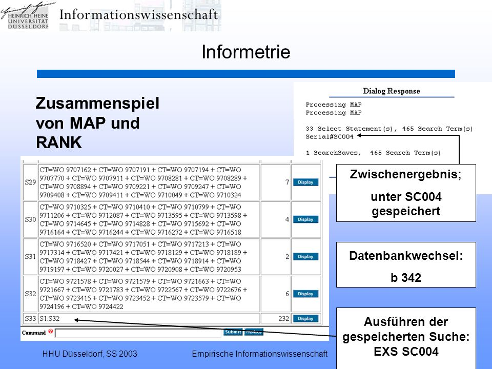 Ausführen der gespeicherten Suche: EXS SC004