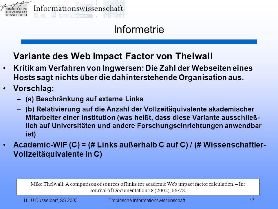 Informetrie Variante des Web Impact Factor von Thelwall