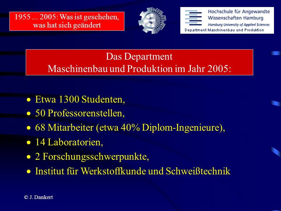 Das Department Maschinenbau und Produktion im Jahr 2005: