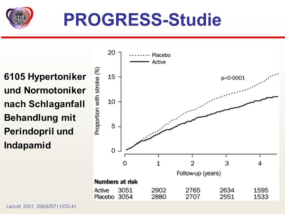 PROGRESS-Studie 6105 Hypertoniker und Normotoniker nach Schlaganfall