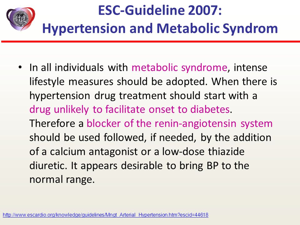 ESC-Guideline 2007: Hypertension and Metabolic Syndrom