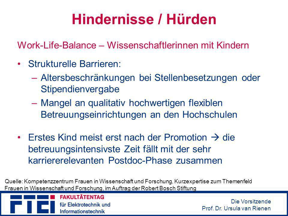 Hindernisse / Hürden Work-Life-Balance – Wissenschaftlerinnen mit Kindern. Strukturelle Barrieren: