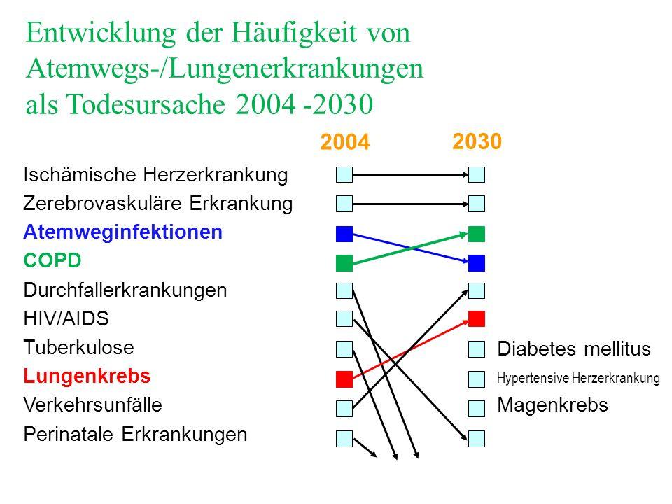 Entwicklung der Häufigkeit von Atemwegs-/Lungenerkrankungen