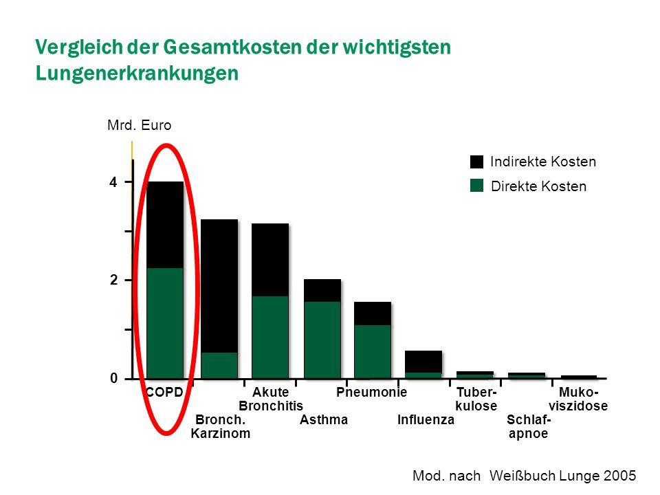 Vergleich der Gesamtkosten der wichtigsten Lungenerkrankungen