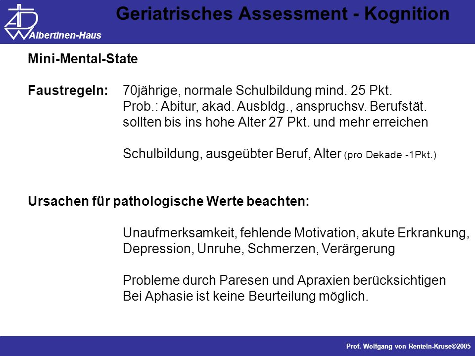 Geriatrisches Assessment - Kognition