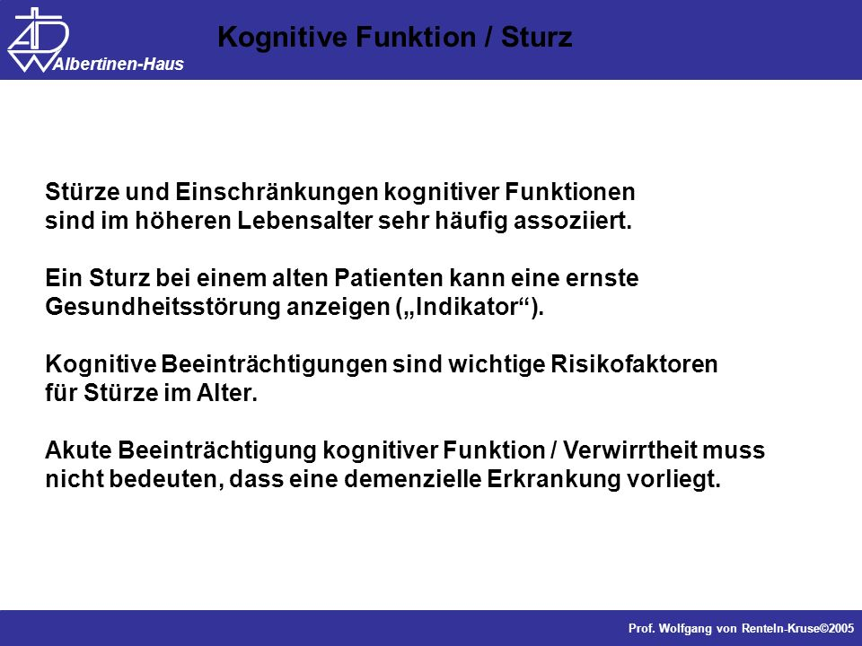 Kognitive Funktion / Sturz