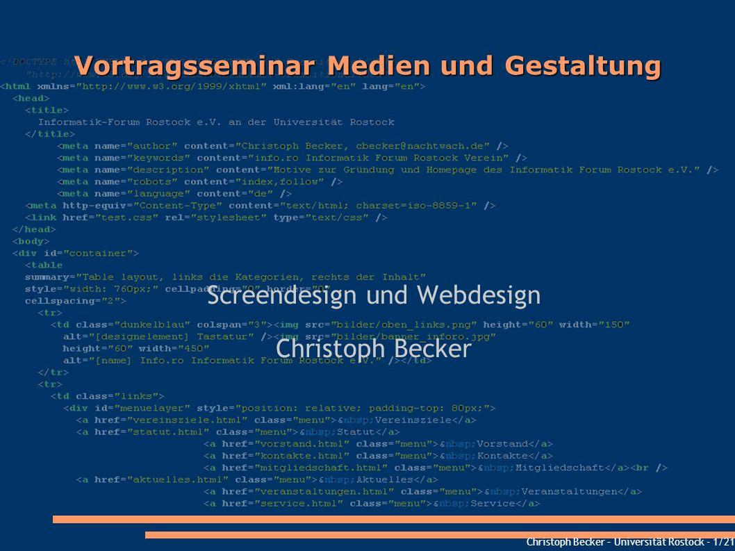 Vortragsseminar Medien und Gestaltung