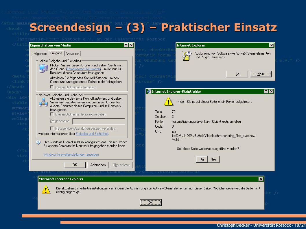 Screendesign – (3) – Praktischer Einsatz