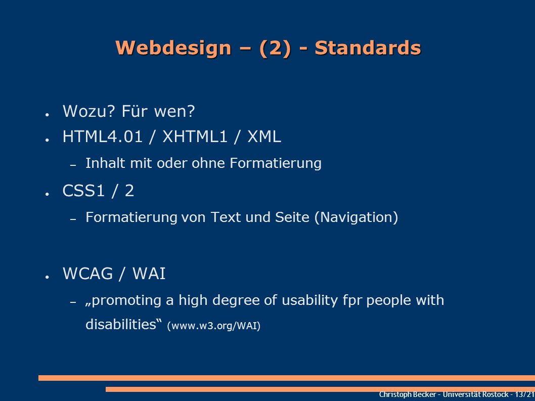 Webdesign – (2) - Standards