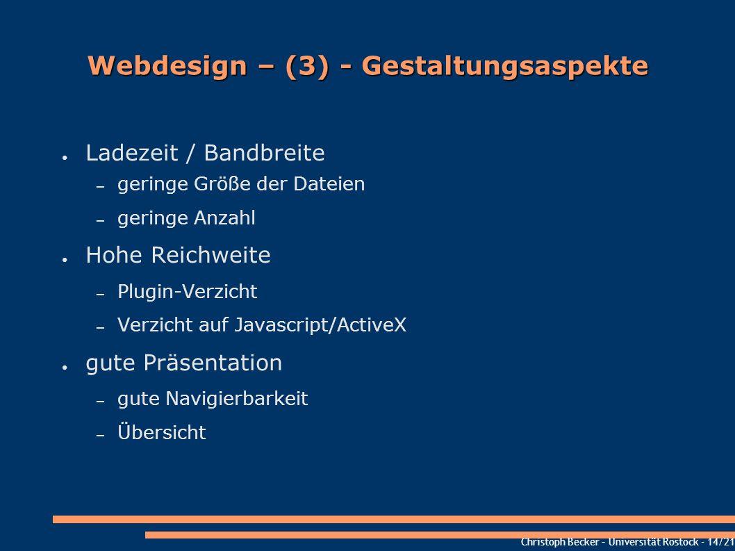 Webdesign – (3) - Gestaltungsaspekte