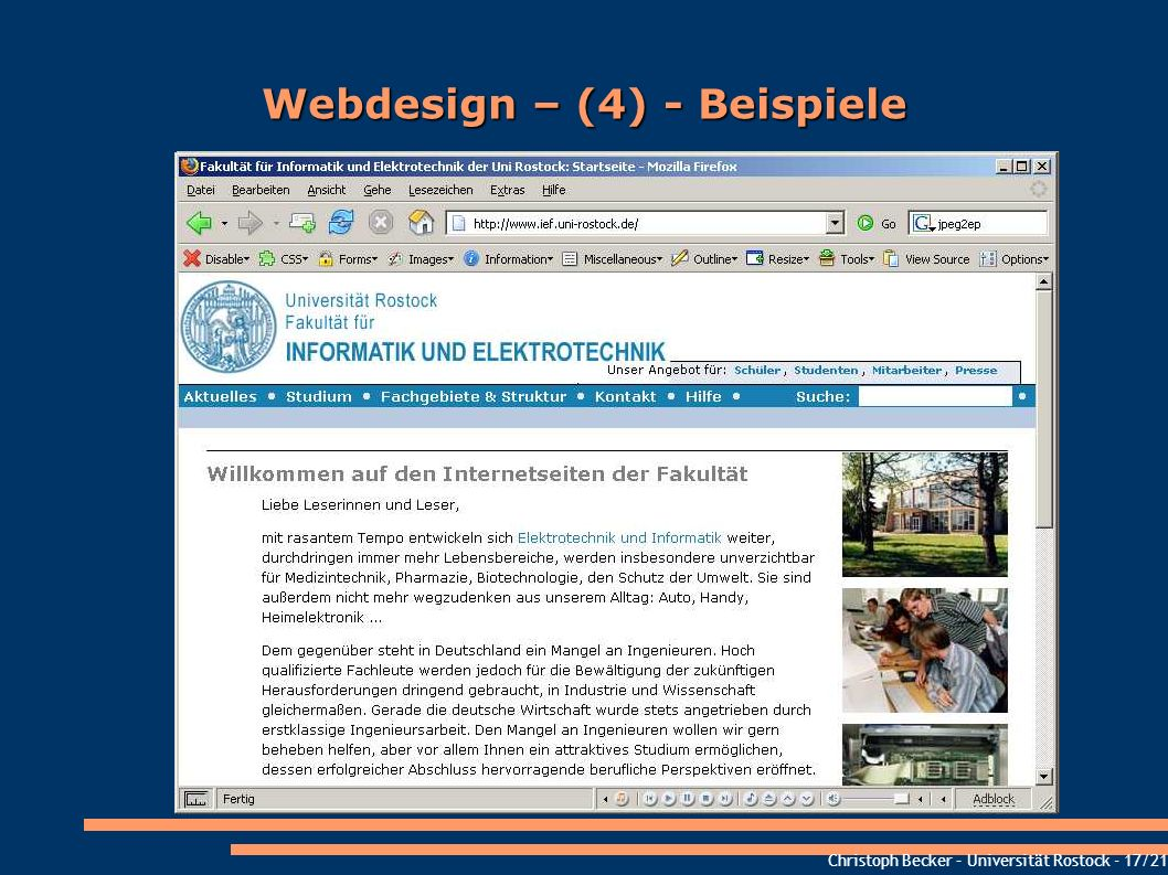Webdesign – (4) - Beispiele