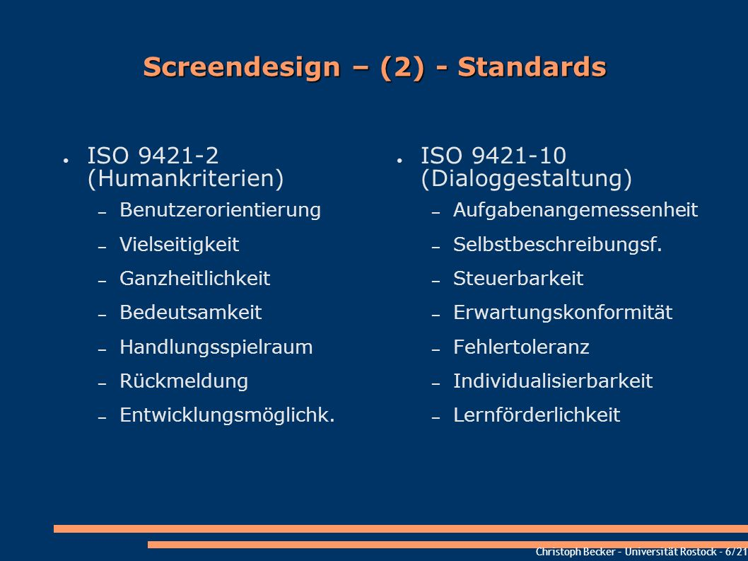 Screendesign – (2) - Standards