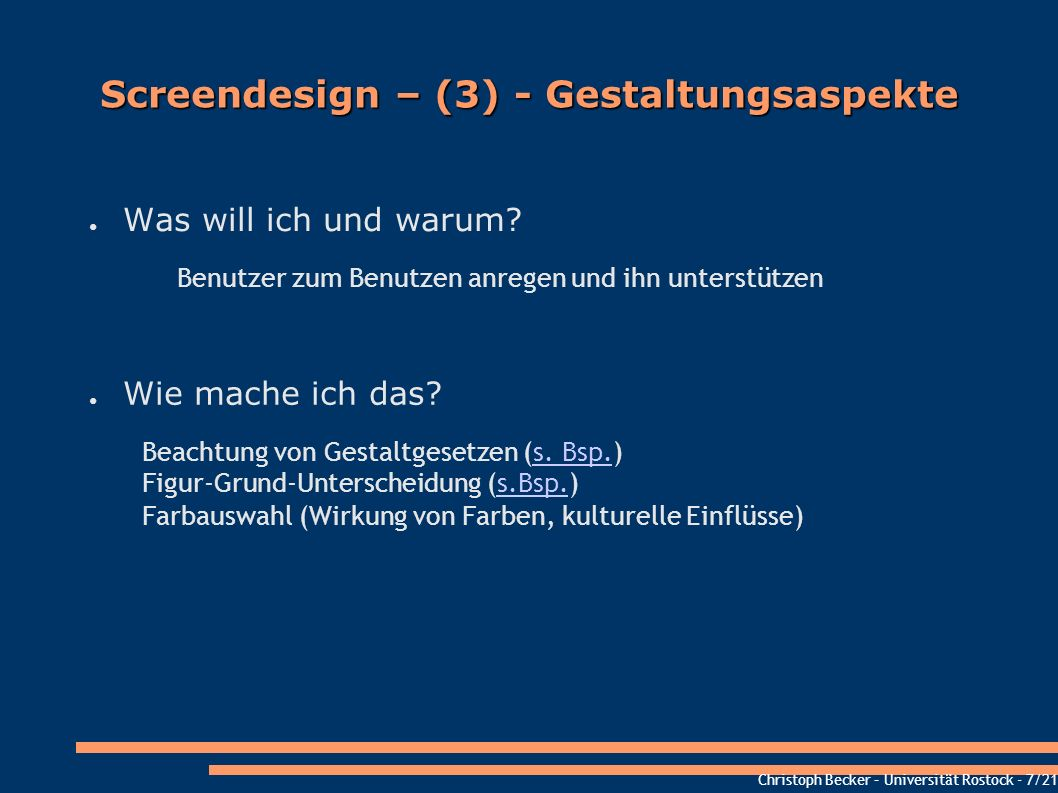 Screendesign – (3) - Gestaltungsaspekte