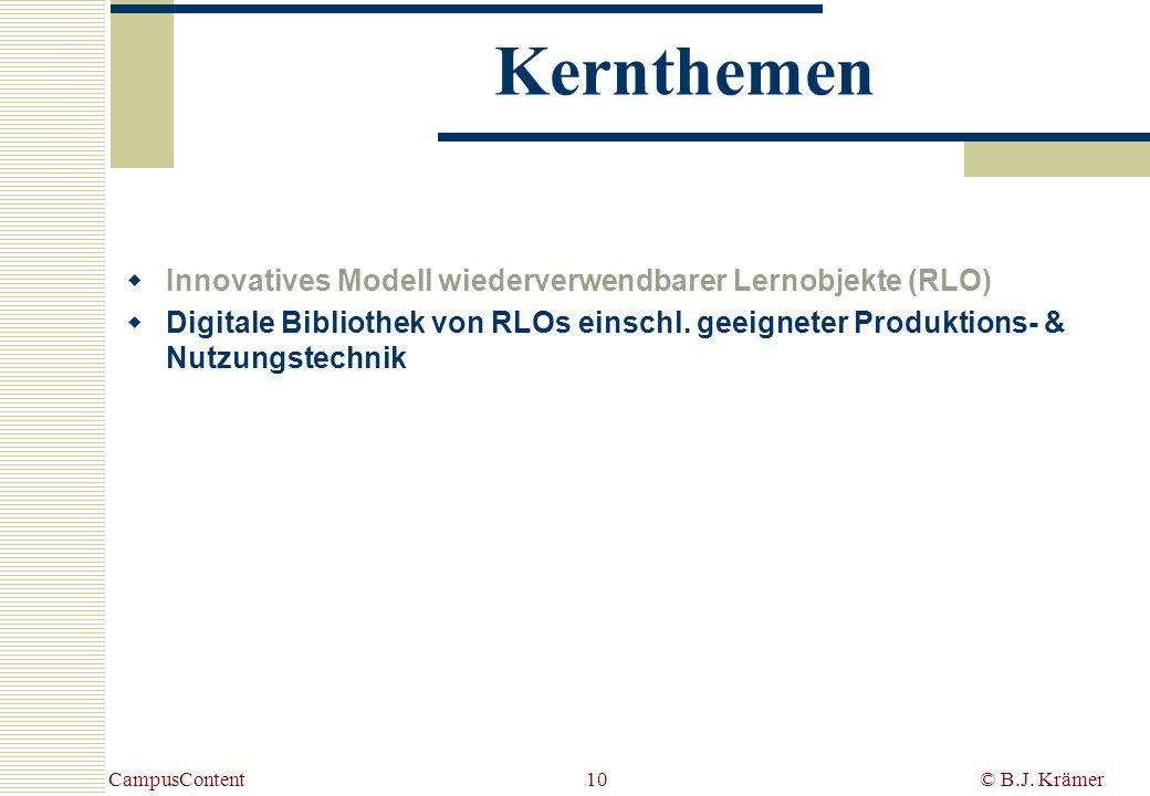 Kernthemen Innovatives Modell wiederverwendbarer Lernobjekte (RLO)