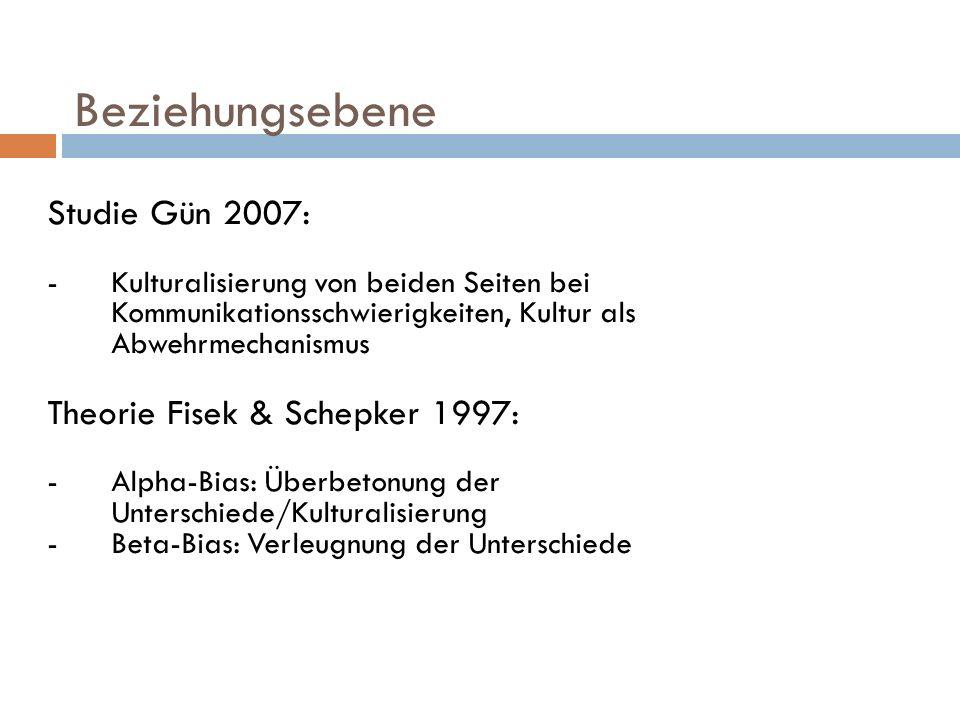 Beziehungsebene Studie Gün 2007: Theorie Fisek & Schepker 1997: