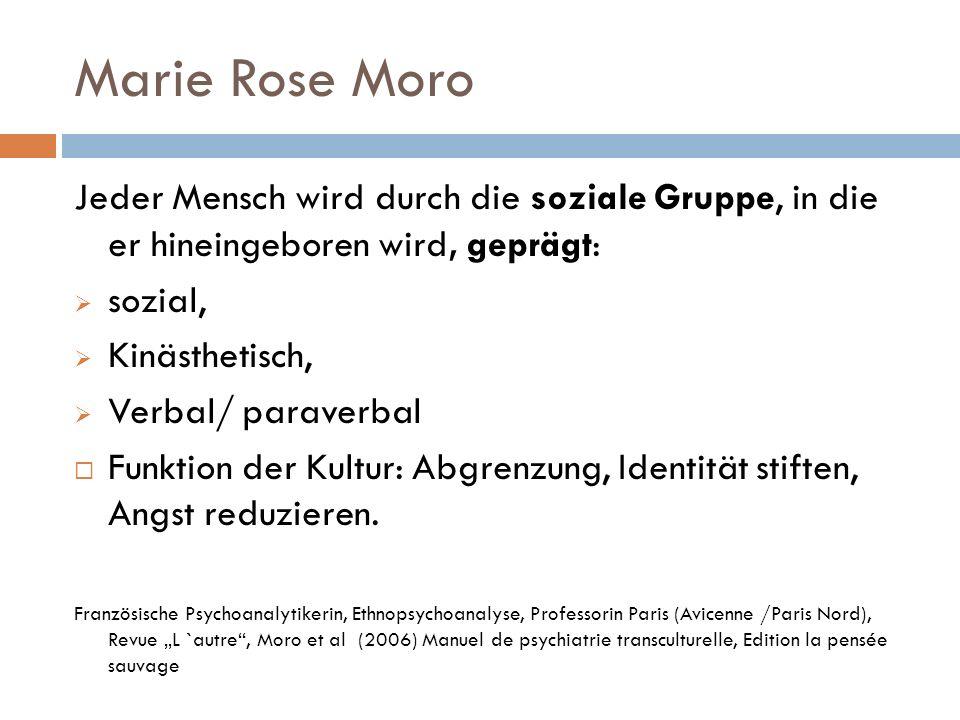 Marie Rose Moro Jeder Mensch wird durch die soziale Gruppe, in die er hineingeboren wird, geprägt: