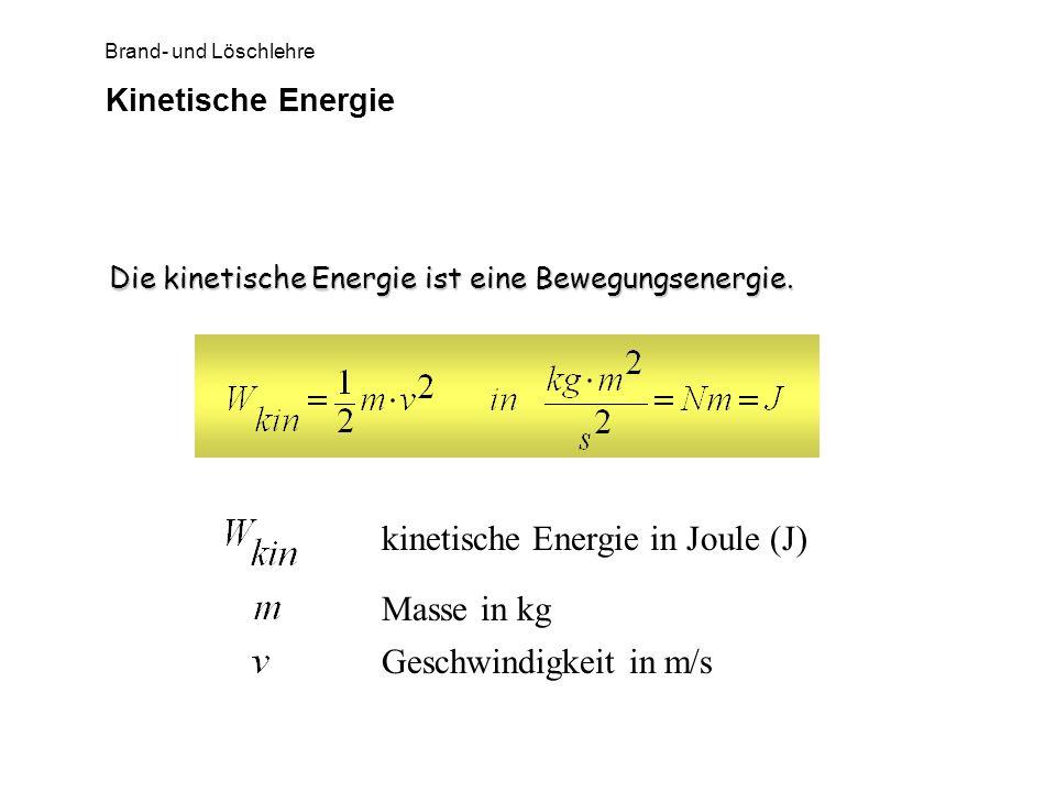 kinetische Energie in Joule (J)